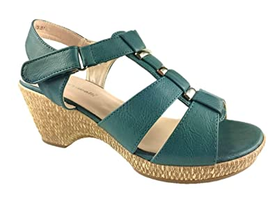 e1628e243fa LADIES FAUX LEATHER CUSHION WALK E WIDE FIT STRAPPY SUMMER SANDALS BLUE SIZE  4-8