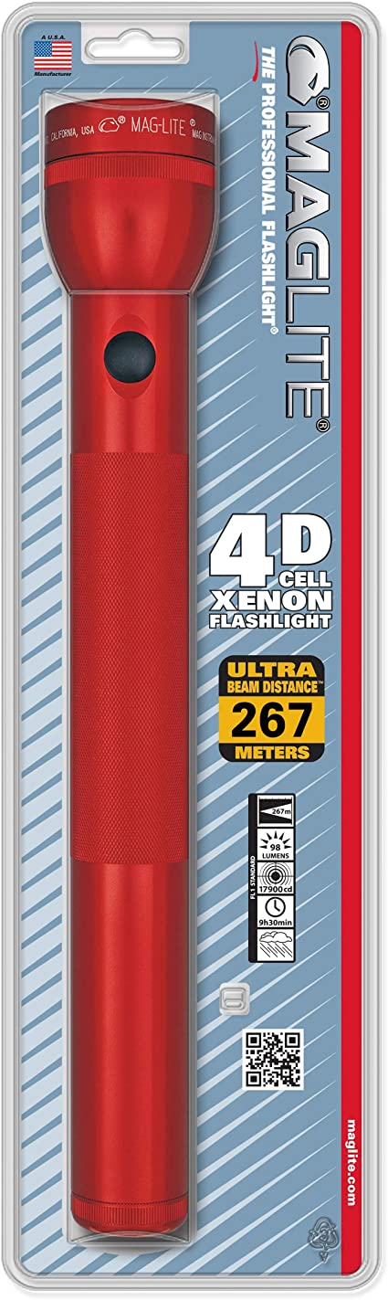 Maglite S4d035 4d Cell Flashlight Boxed Red