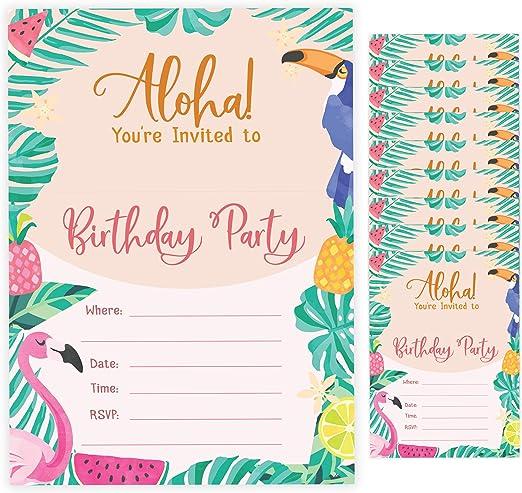Sensational Amazon Com Hawaiian Aloha Style 2 Happy Birthday Invitations Funny Birthday Cards Online Fluifree Goldxyz