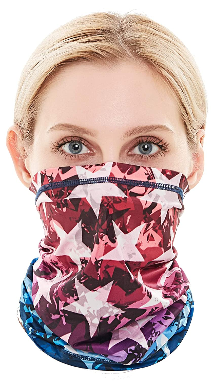 Face Mask Reusable UV Dust Aerosols Protection 123pack Washable Bandana or Neck Gaiter Face Cover