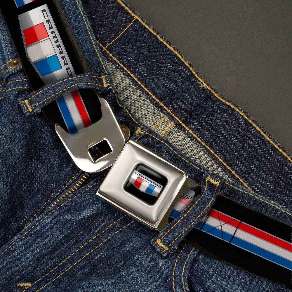CAMARO Six Badge//Stripe Black//Silver//Red//White//Blue 1.5 Wide 32-52 Inches in Length Buckle-Down Seatbelt Belt