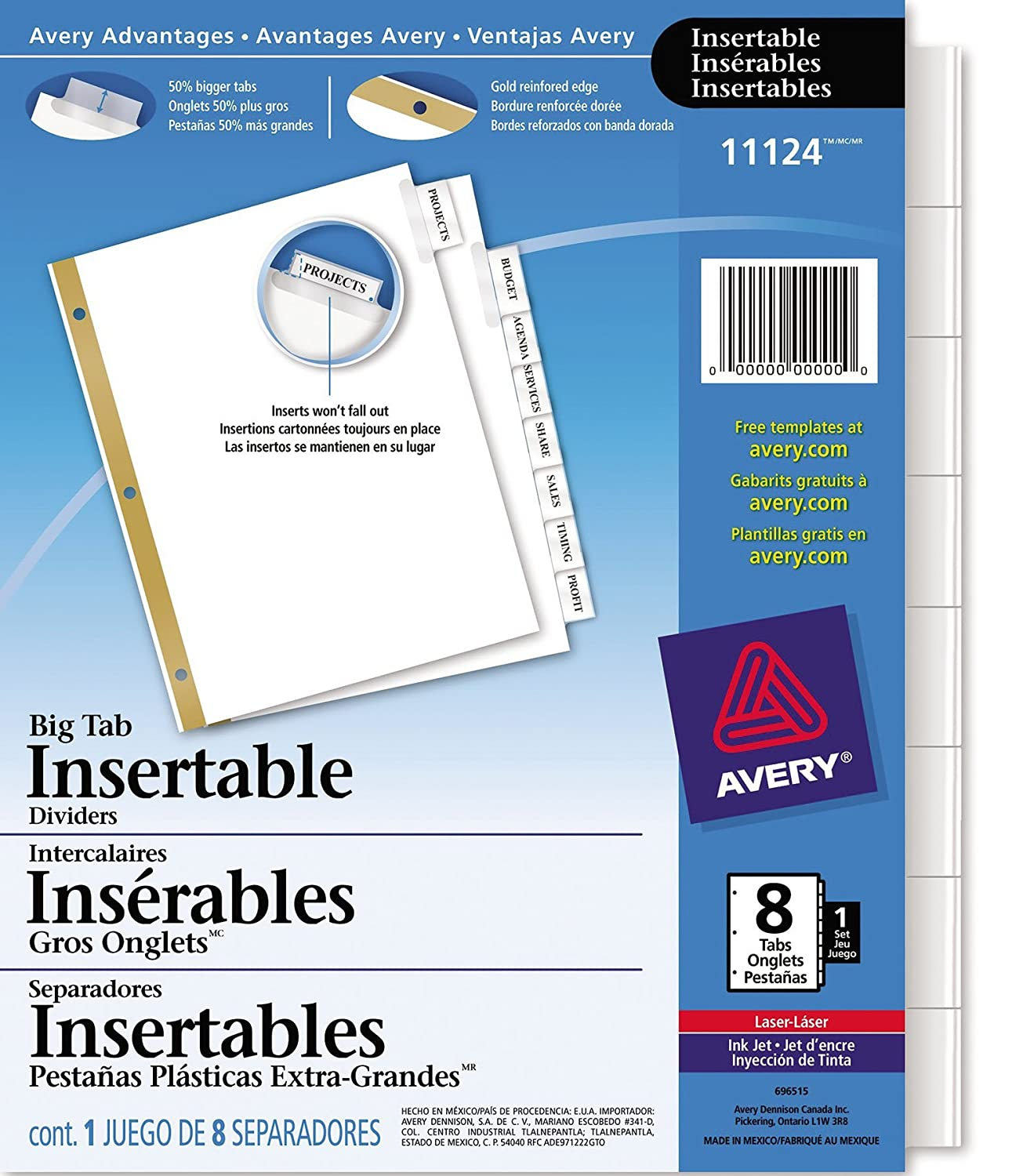 amazoncom avery big tab insertable dividers 8 clear tabs 1 set 11124 binder index dividers office