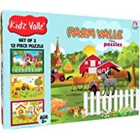 Kidz Valle Farm Valle 3 x 12 Pieces (Jigsaw Puzzles, Puzzles for Kids, Floor Puzzles), Puzzles for Kids Age 3 Years and Above. Size: 18.4 cm x 13.3 cm Set of 3 Puzzles