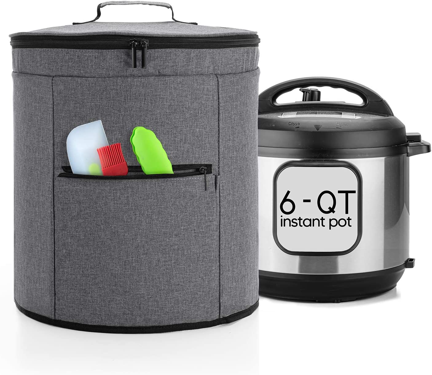 Luxja 2 Layers Cover Compatible with 6 Quart Instant Pot, Pressure Cooker Cover with Zipper Sections (Compatible with 6 Quart Instant Pot), Gray