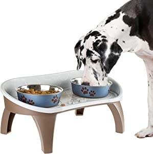 PETMAKER Elevated Pet Feeding Tray with Splash Guard and Non-Skid feet 21in x 11in x 8.5in, Gray (297779UKA)