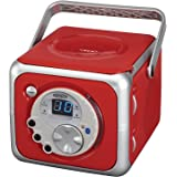 Jensen CD-555 Red CD Bluetooth Boombox Portable Bluetooth Music System with CD Player +CD-R/RW & FM Radio with Aux-in…