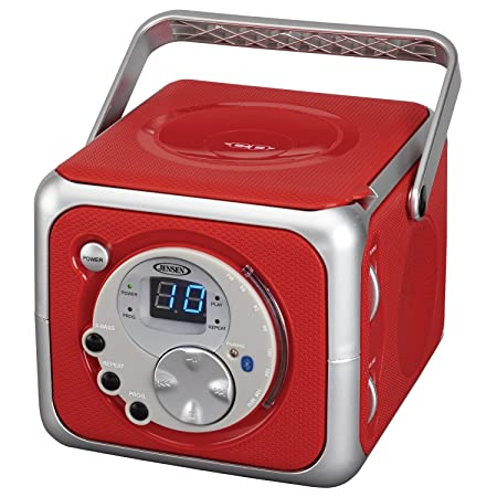 Jensen CD-555 Red CD Bluetooth Boombox Portable Bluetooth Music System