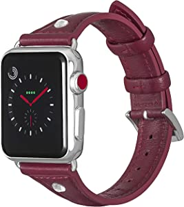 ALADRS Slim Leather Watch Straps Compatible with Apple Watch Band, Thin Narrow Small Wristband Replacement with Diamond Rhinestone for iWatch Series 6 5 4, SE (40mm) Series 3 2 1 (38mm), Wine Red