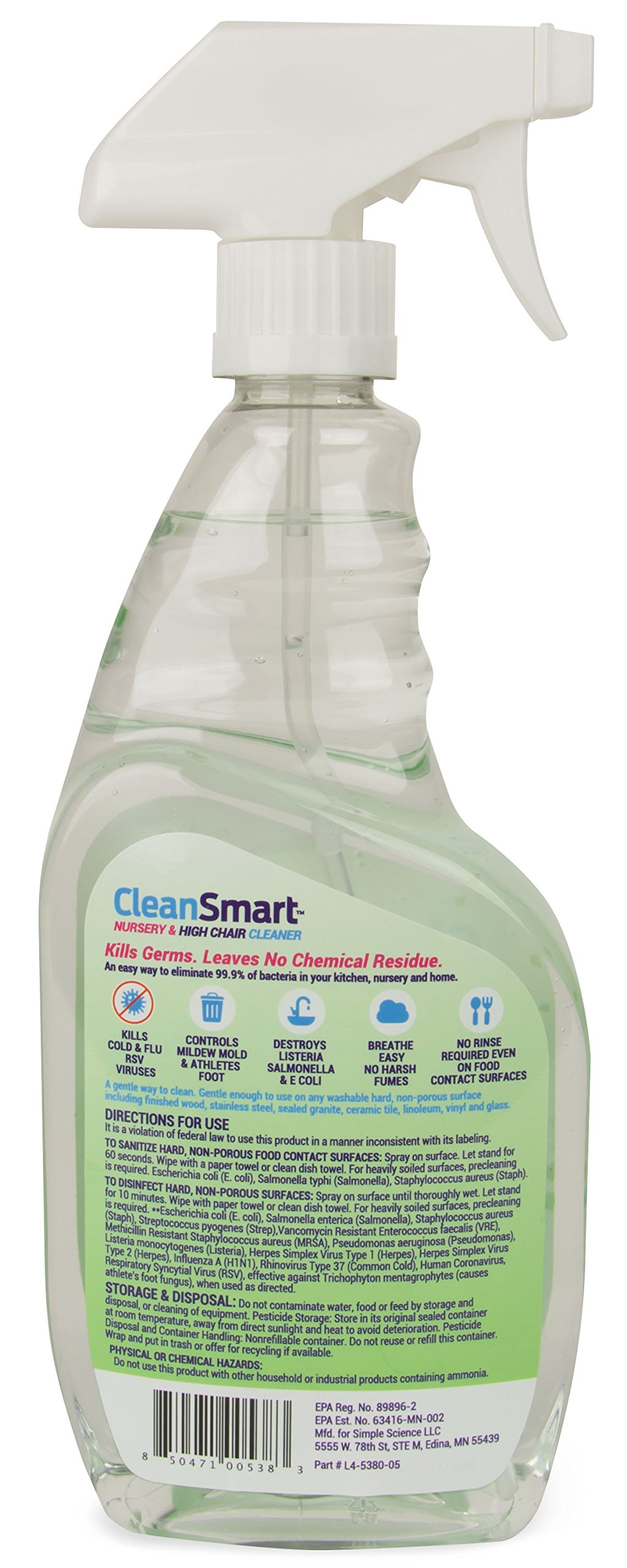 CleanSmart Nursery & High Chair Cleaner, Kills 99.9% of Germs, Leaves No Chemical Residue, Breaks Down to Simple Saline. 23oz, 2Pk. Kills Flu, Strep, RSV, E.Coli, More