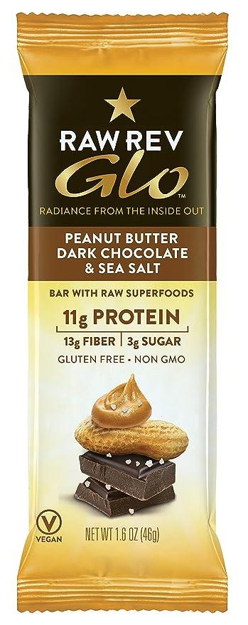Glo, mantequilla de cacahuete del chocolate oscuro y la sal del mar, 12 Bares
