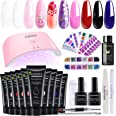 10 Colors Polygel Nail Kit with UV Light Quick Nail Extension Gel Builder Professional Easy Polygel Kit for Starter and Nail