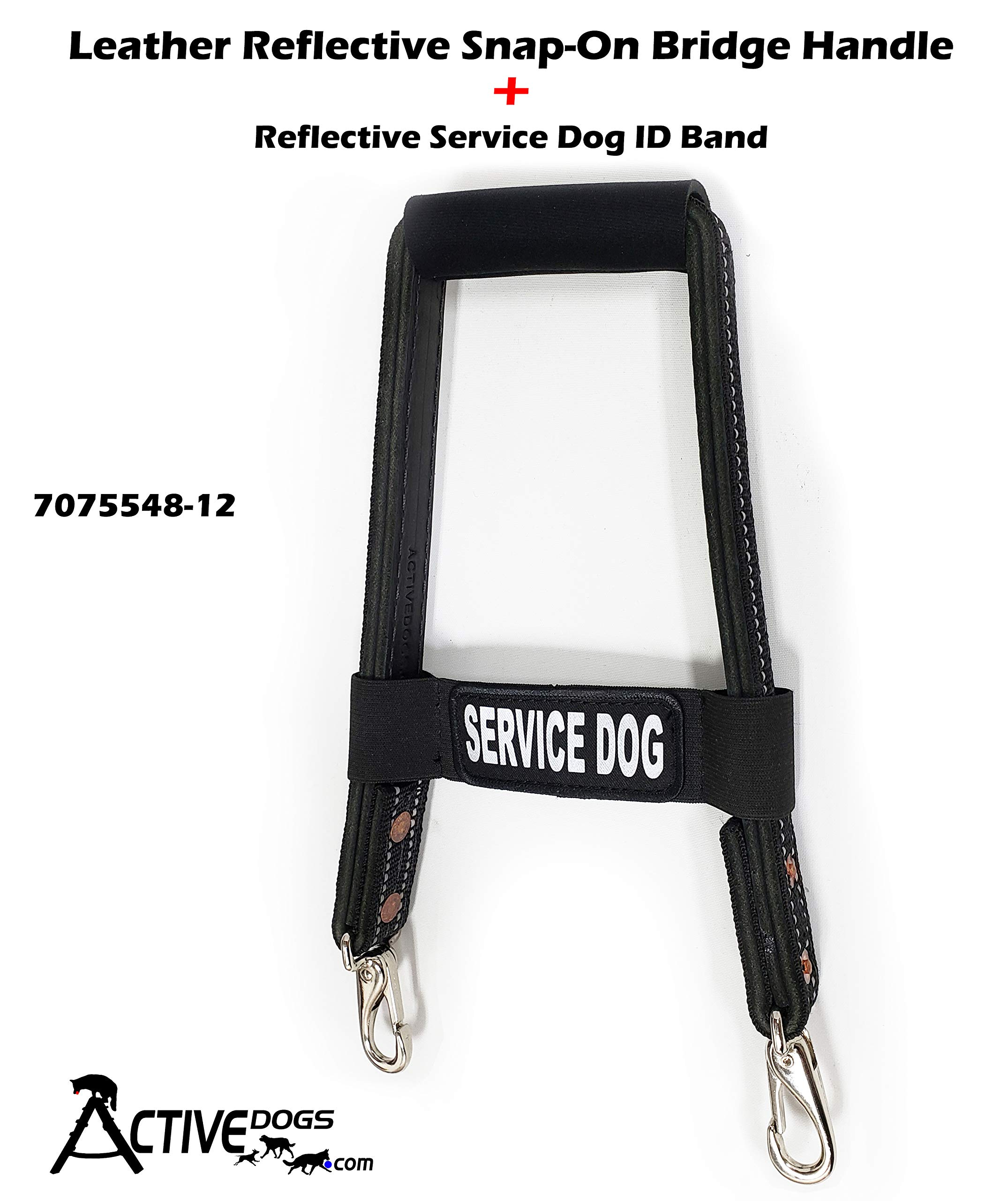 Activedogs Leather Reflective Snap-On Service Dog Bridge Handle + Reflective Service Dog ID Band (12'')