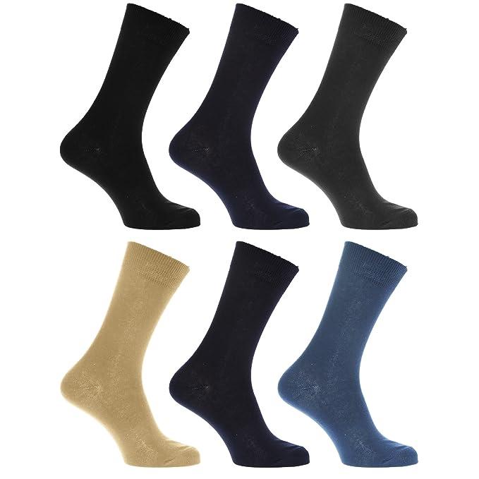 Calcetines Lisos para vestir/casual o trabajar 100% algodón - Paquete de 6 pares de calcetines