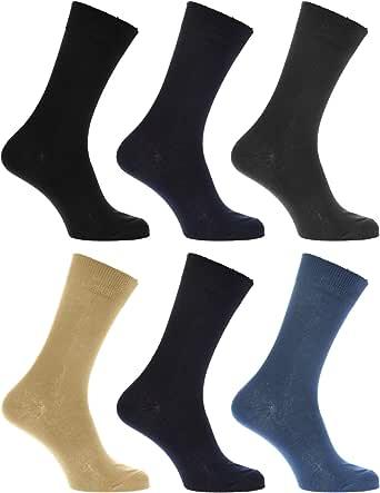 Calcetines Lisos para vestir/casual o trabajar 100% algodón - Paquete de 6 pares de calcetines (39-45 EUR/Marino/Beige/Azul/Negro/Gris): Amazon.es: Ropa y accesorios