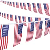 2 Piece Set of USA String Flag Banners - Small United States Bunting American Flags for 4th of July, Veteran's Day, Flag Day - 8.6 Yard