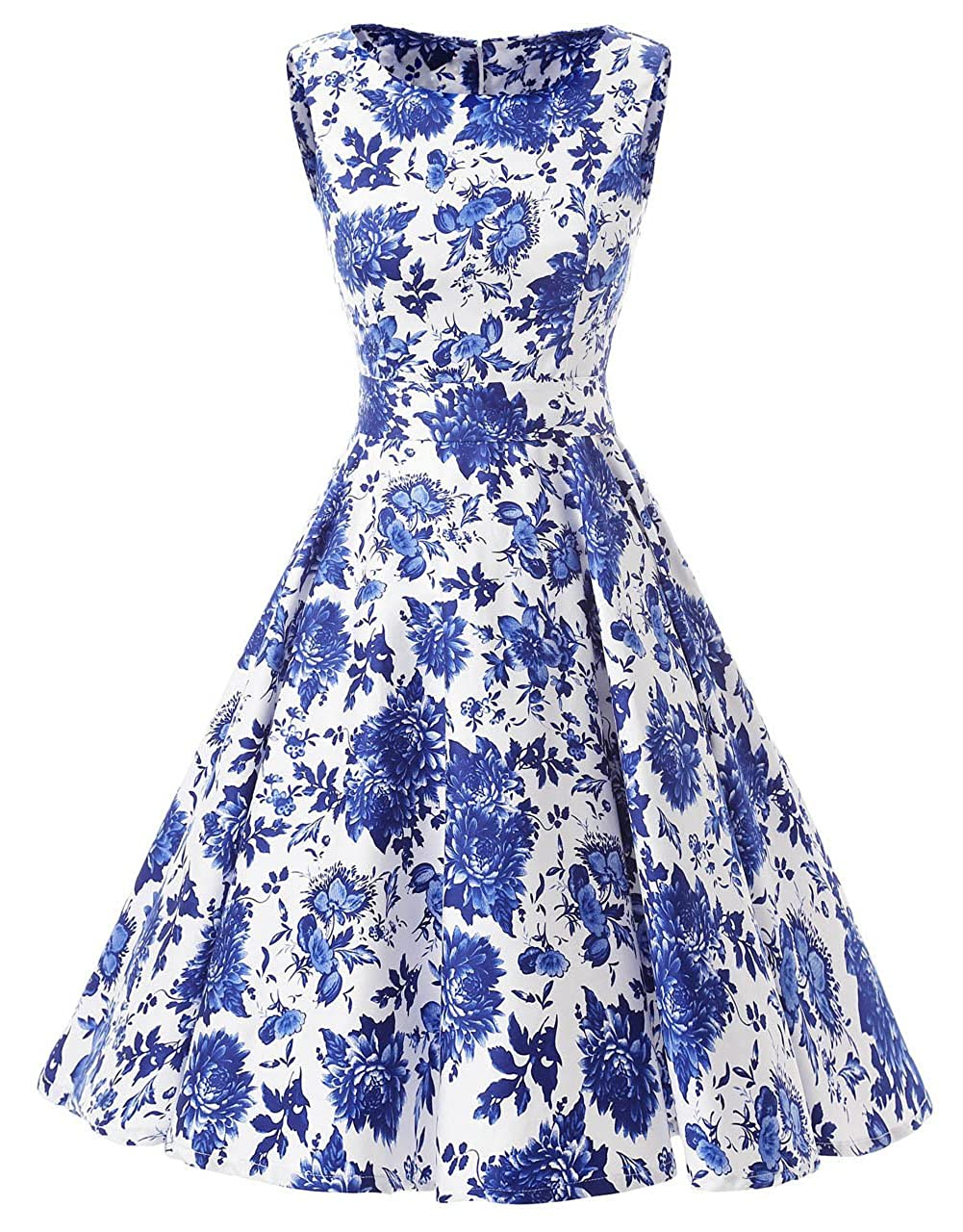 bluee Ensnovo Womens Vintage 1950s Sleeveless Retro Floral Print Rockabilly Swing Dress