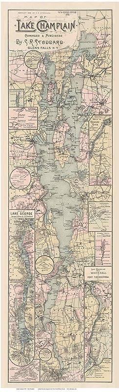 Amazon.com: Lake Champlain 1896 Map Stoddard Reprint New ...