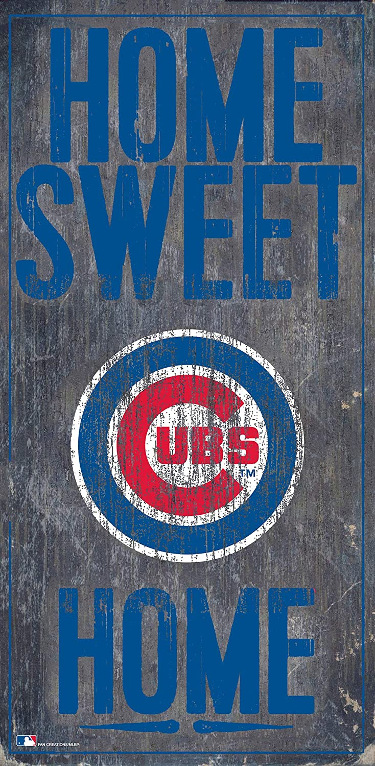 Fan Creations MLB Chicago Cubs Unisex Chicago Cubs Home Sweet Home Sign, Team Color, 6 x 12