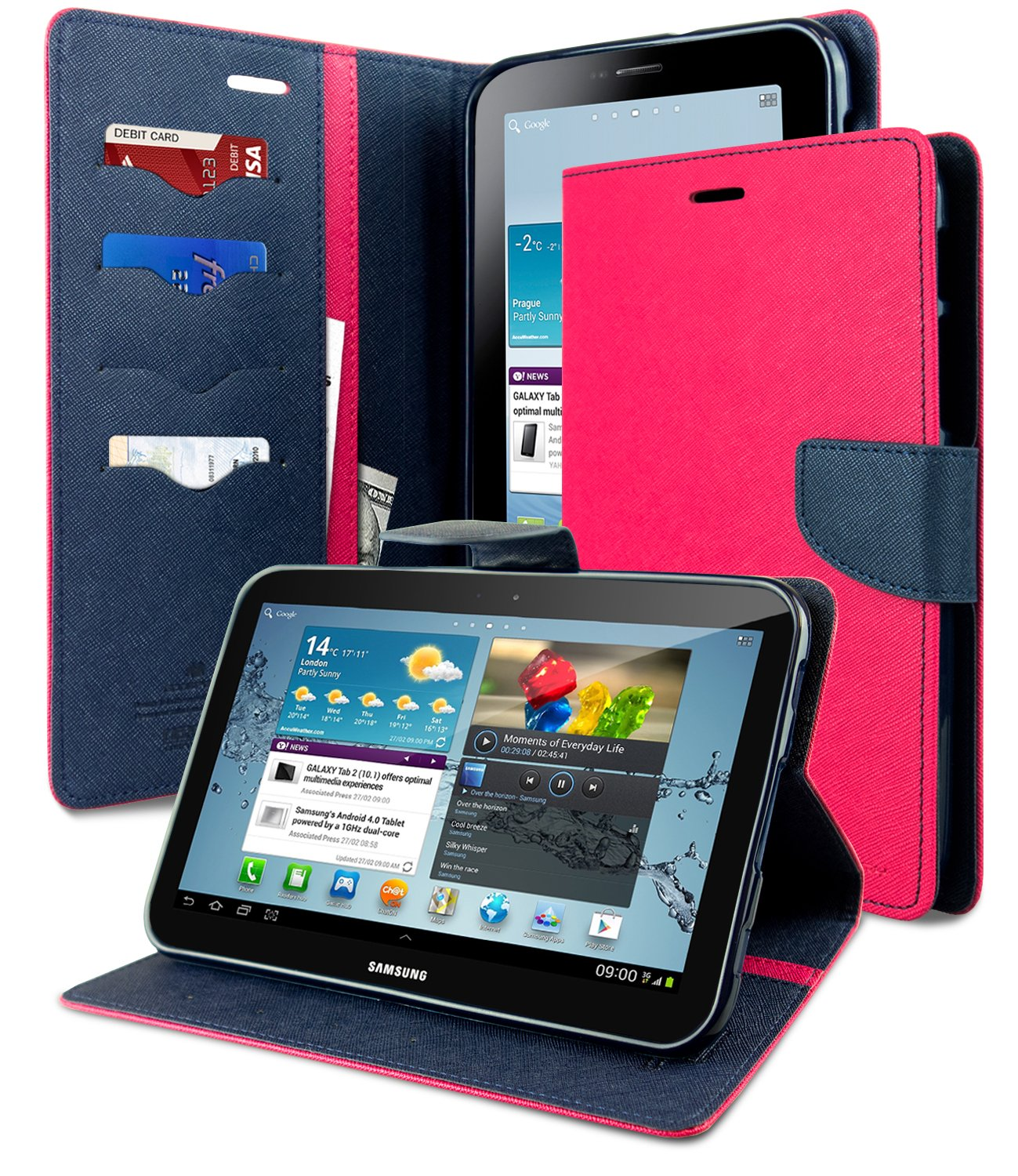 Galaxy Tab 2 70 Case Drop Protection Goospery Iphone 8 Fancy Diary Navy Lime Synthetic Saffiano Leather Ample Pocket Storage Stand Flip Cover For