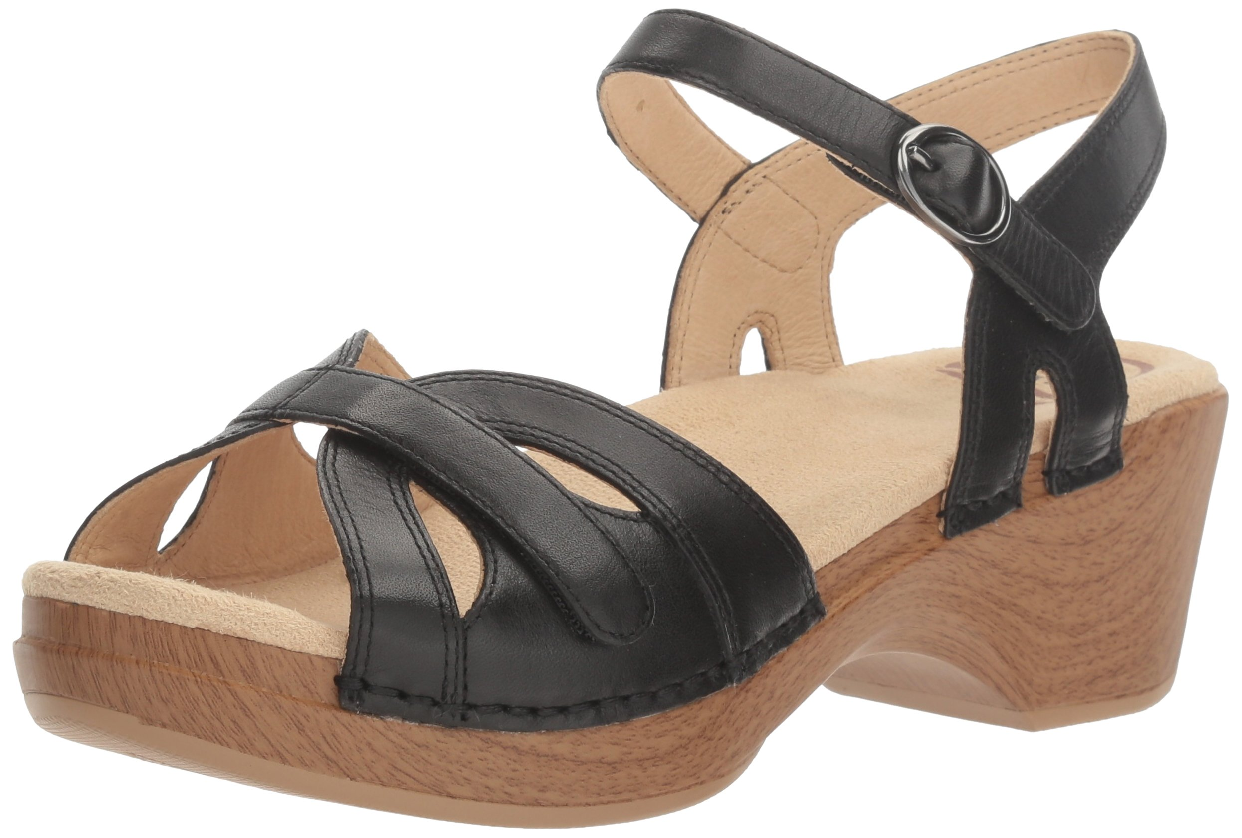 Dansko Women's Season Flat Sandal, Black Full Grain, 36 EU/5.5-6 M US