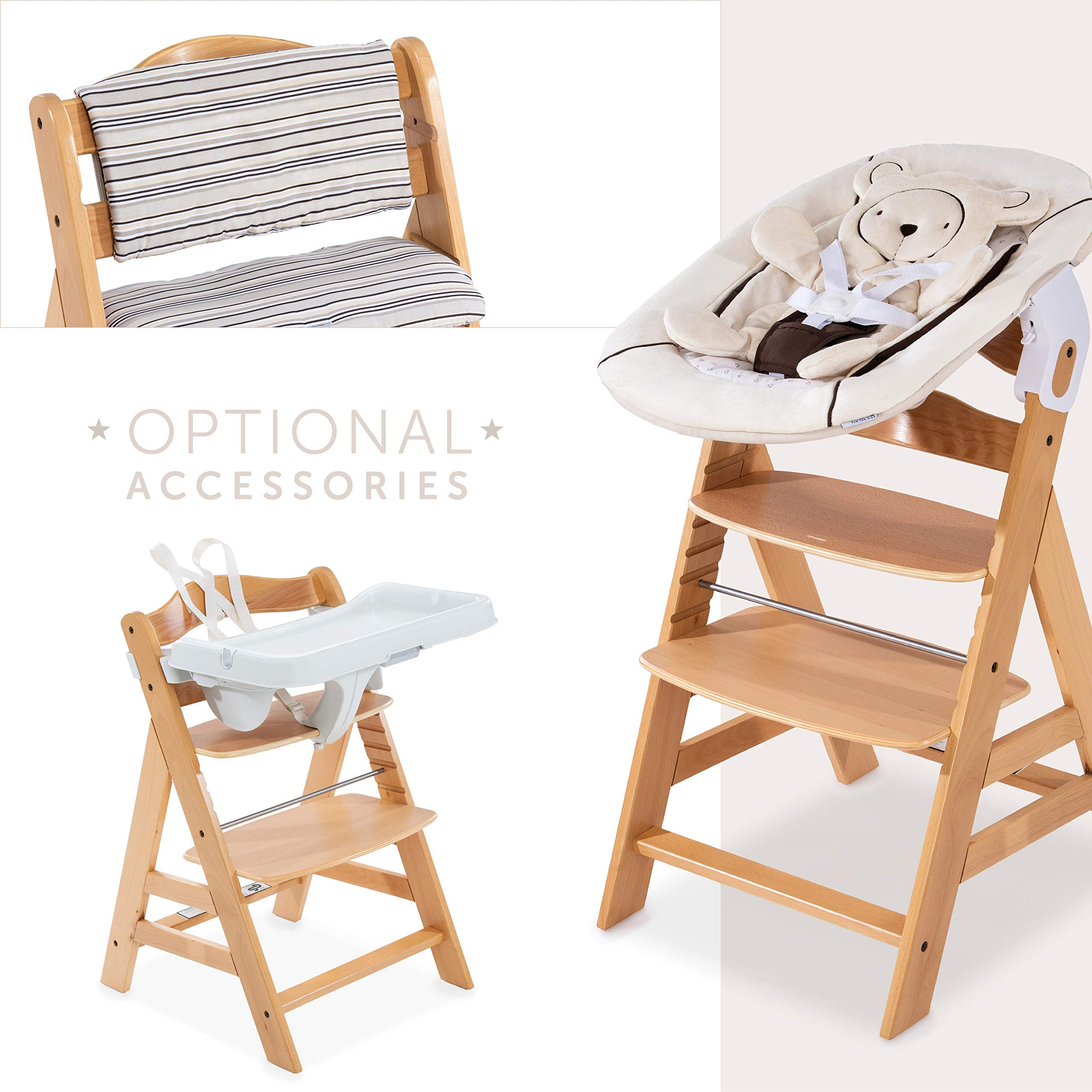Hauck Alpha Wooden Height Adjustable Chair from 36 Months, Compatible with Hauck Alpha Bouncer from Birth, Natural by Hauck - Fun for Kids