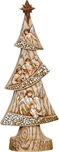 """Roman Joseph's Studio Nativity Tree, Mosaic and Wood Carved Finish, 14.25"""" H, Resin, Christmas Collection, Home Decor, Religious Gift, Adorable, Beautifully Detailed, Long Lasting"""