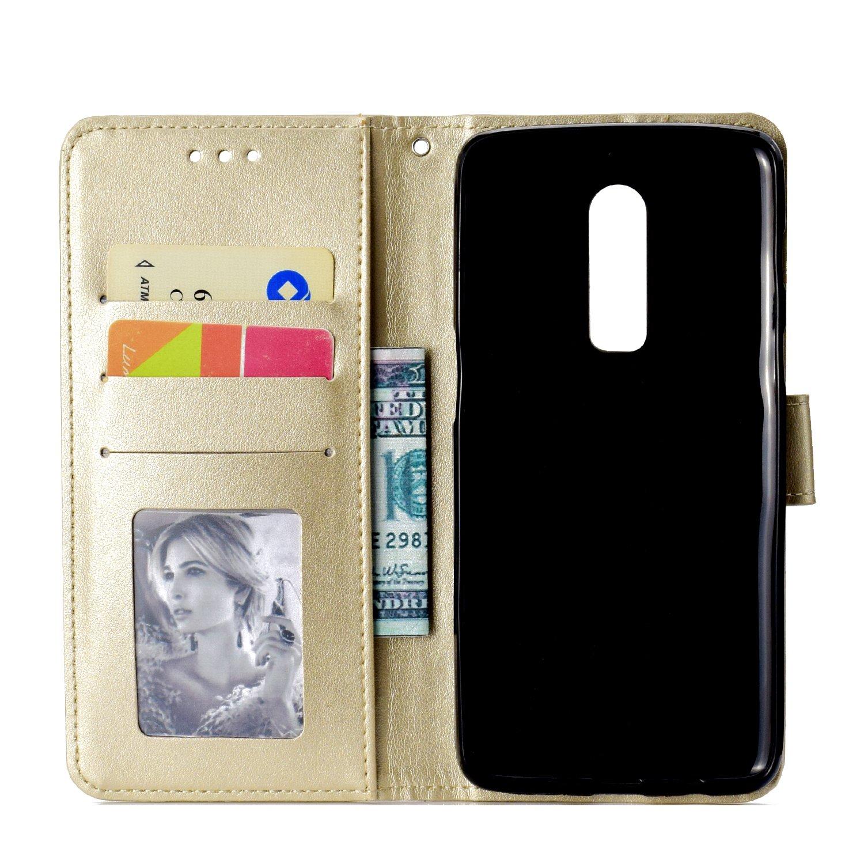 LOHHA11088 Braun Lomogo OnePlus 6 H/ülle Leder Schutzh/ülle Brieftasche mit Kartenfach Klappbar Magnetverschluss Sto/ßfest Kratzfest Handyh/ülle Case f/ür OnePlus6