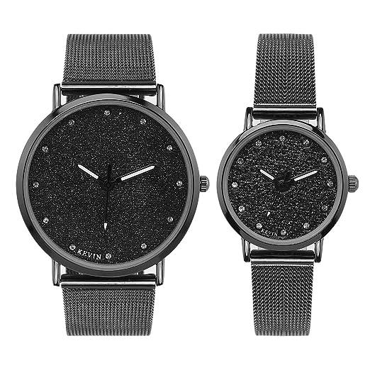 LONGQI - Reloj de pulsera de malla con cristales de imitación para pareja, esfera estrellada, esfera redonda brillante, regalo de vacaciones: Amazon.es: ...
