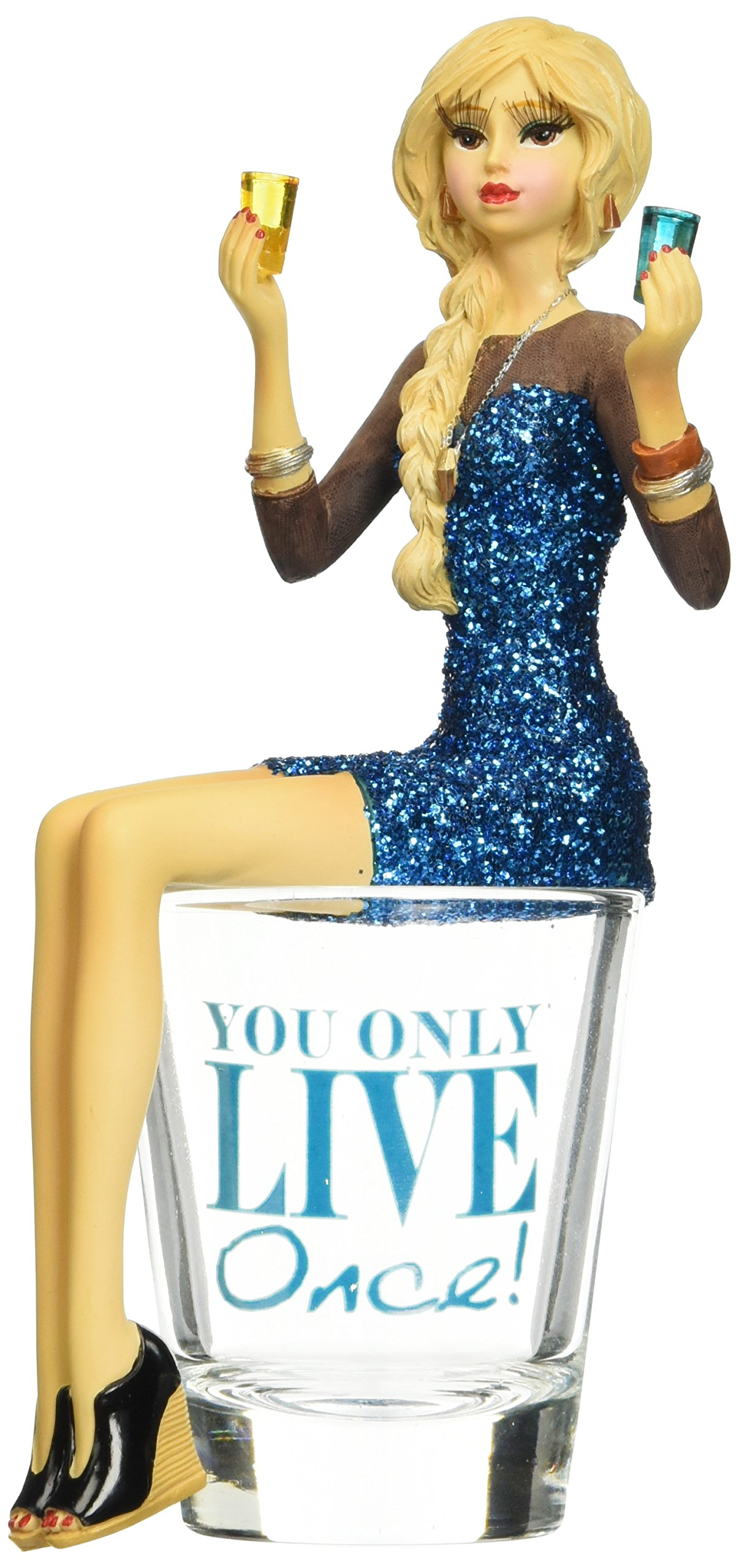 Pavilion Gift Company 73701 You Only Live Once Girl in Shot Glass, 5-3/4-Inch High