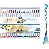 MozArt Supplies Set Penne Colorate Con Vera Punta A Pennello Morbida - Penne Da Disegno In 20 Colori - Ideali Per Fumetti, Manga, Lettering E Calligrafia - Brush Pen Acquerellabili