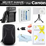 Essential Accessories Bundle Kit For Canon PowerShot ELPH 500 HS SX600 HS SX700 HS SX610 HS SX710 HS Digital Camera Includes (1200maH) Replacement NB-6L Battery + AC/DC Charger + Case + More