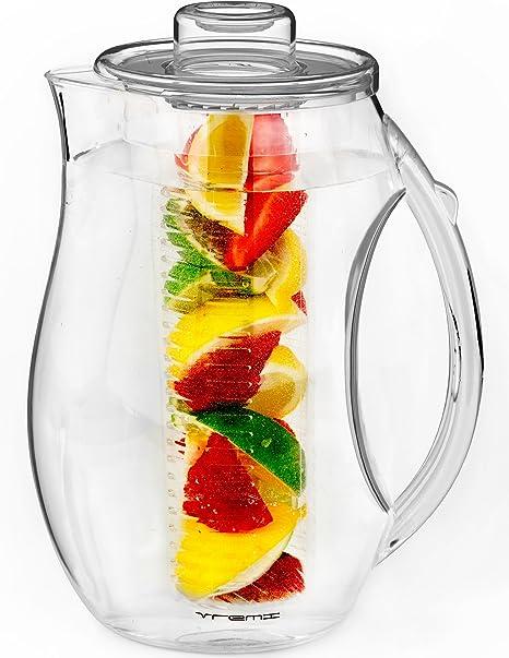 Vremi Jarra para Infusion de Agua y fruta - Jarra para infusión de plástico de 2