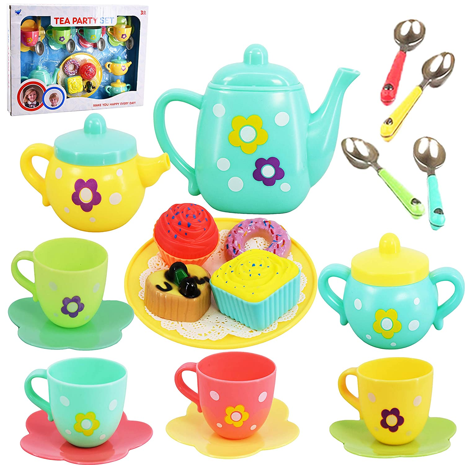 20 Piece Kids Pretty Flower Tea Party & Cake Play Set Teapot Role Pretend Toy The Magic Toy Shop