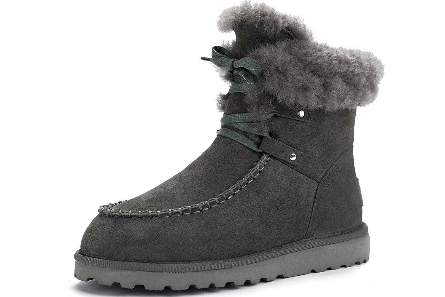 OZZEG Women's Snow Shearling Boots Lace up Newest Designed Warm Lining Boots Sheepskin