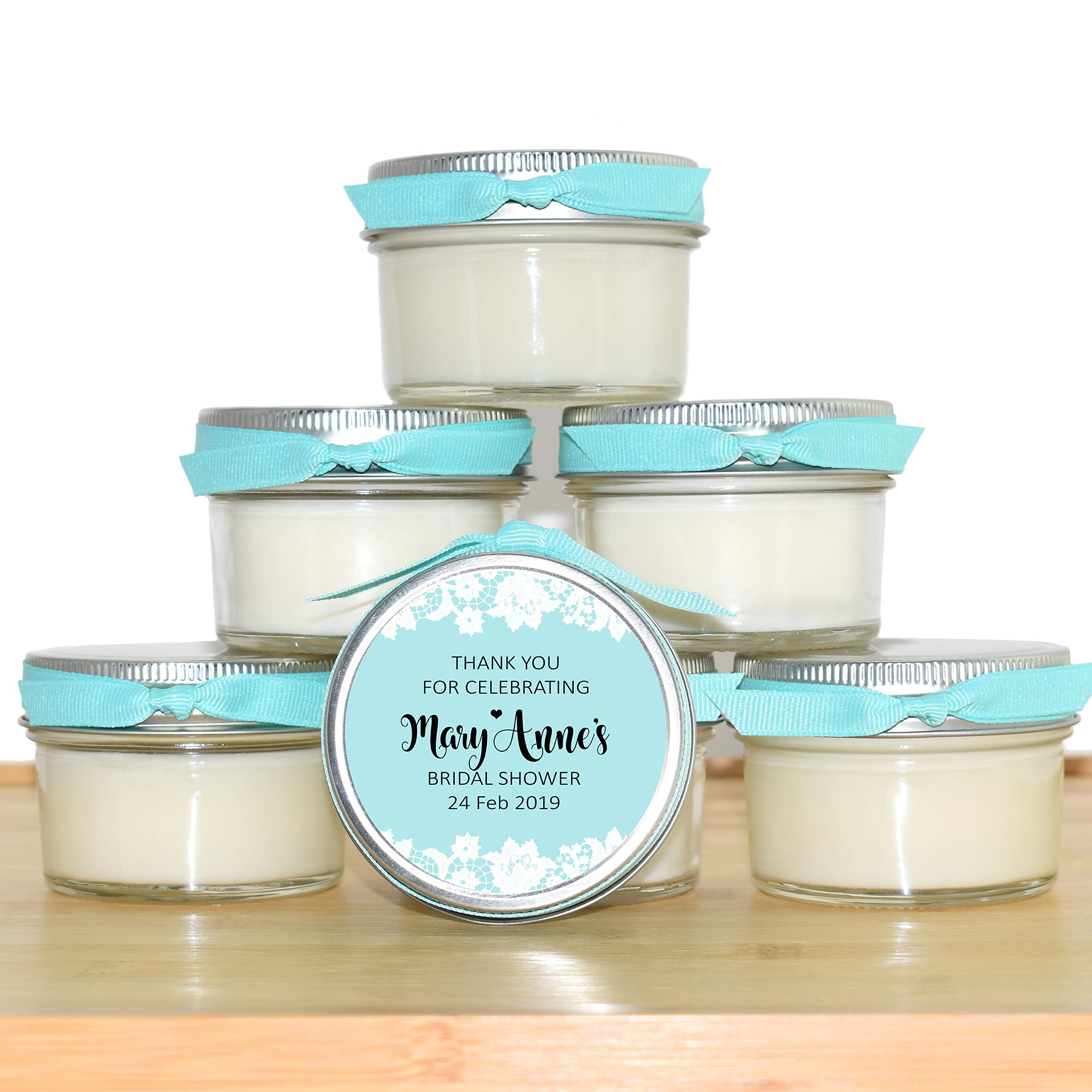 30 Bridal Shower Favors | 4oz jar Personalized Soy Candles | Silver and Light Teal, Robin Egg Blue | Table Decor, Centerpiece, Gift for Guests