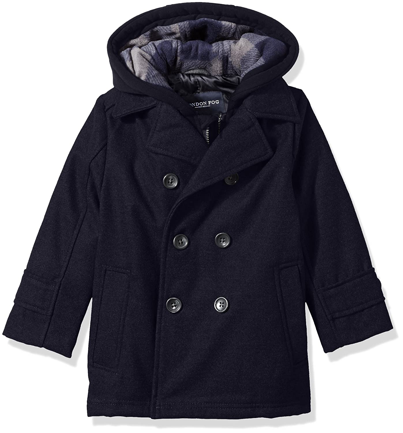 London Fog Boys Double Breasted Faux Wool Hooded Coat Navy 5/6 L216E57