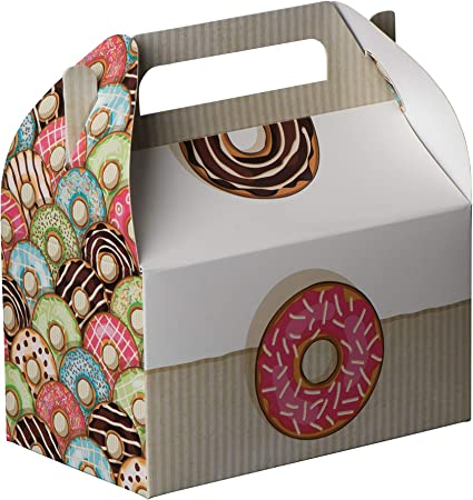Hammont Paper Treat Boxes 10 Pack Party Favors Treat Container Cookie Boxes Cute Designs Perfect for Parties and Celebrations 6.25 x 3.75 x 3.5 Candy