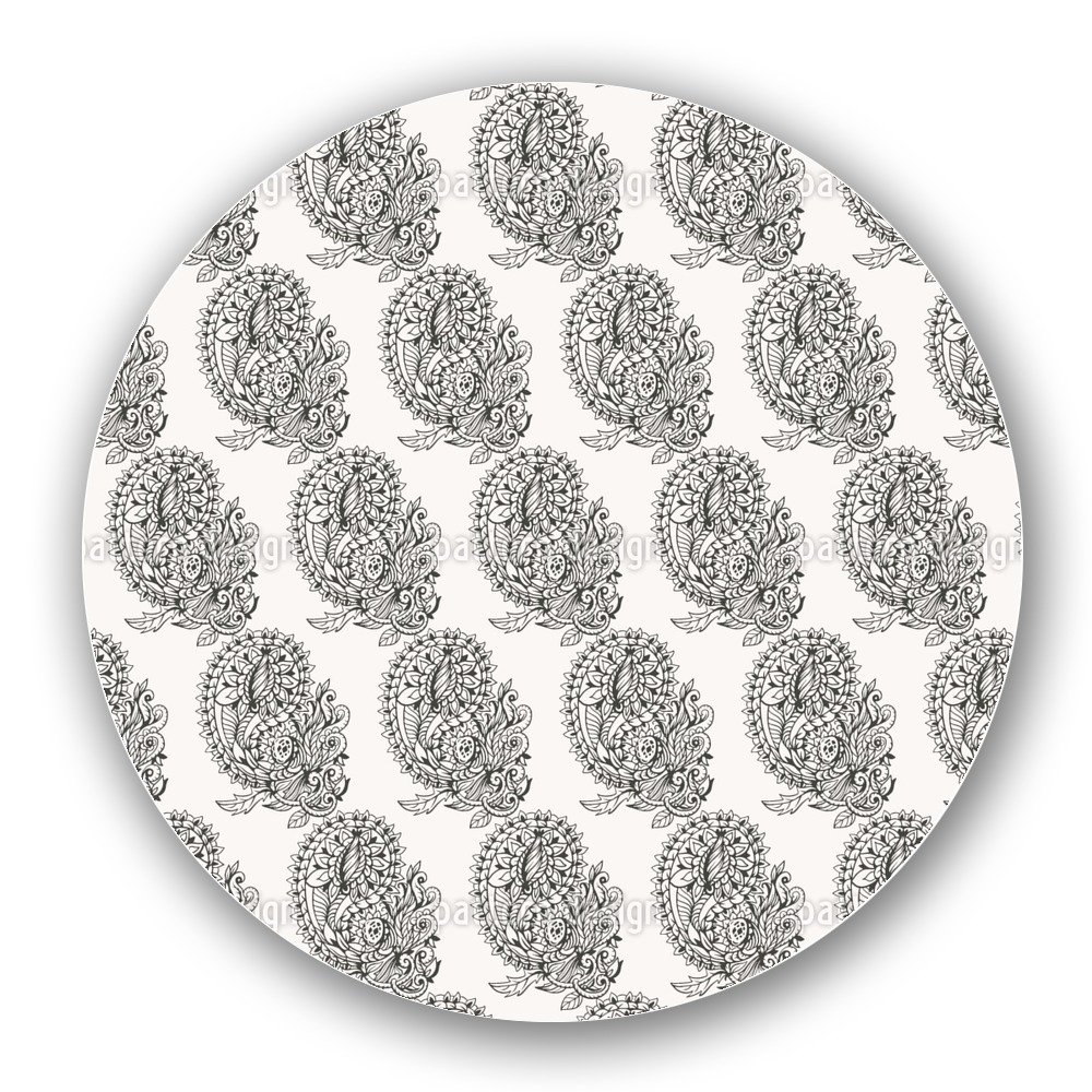 Uneekee Paisley Zentangle Lazy Susan: Large, Dark Wooden Turntable Kitchen Storage