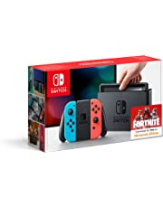 Nintendo Switch - Konsole (Joy-Con Grip, Joy-Con Wrist Straps, High Speed HDMI Cable, neon rot/blau)