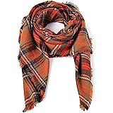 Trendy Women's Cozy Warm Winter Fall Blanket Scarf Stylish Soft Chunky Checked Giant Scarves Shawl Cape