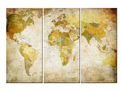 Amazon.com: BYFEN ART 3 Panel Canvas Prints Map Art, 3 Panels World ...