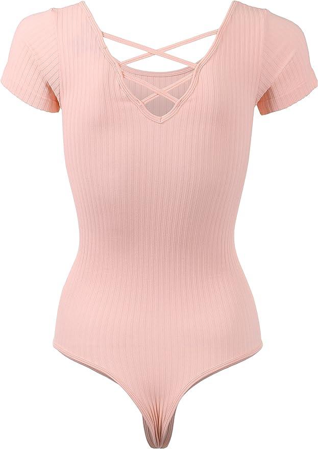 BEKDO Womens Scoop Neck Cap Sleeve Crisscross Back Strap Leotard Bodysuit