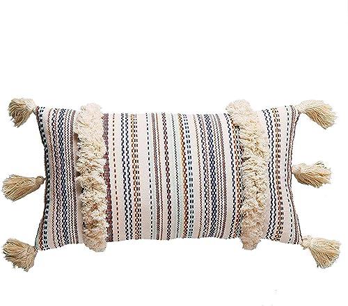 Flber Lumbar Throw Pillow Decorative Pillows Tassel Woven Pillow Shams, 12 x27