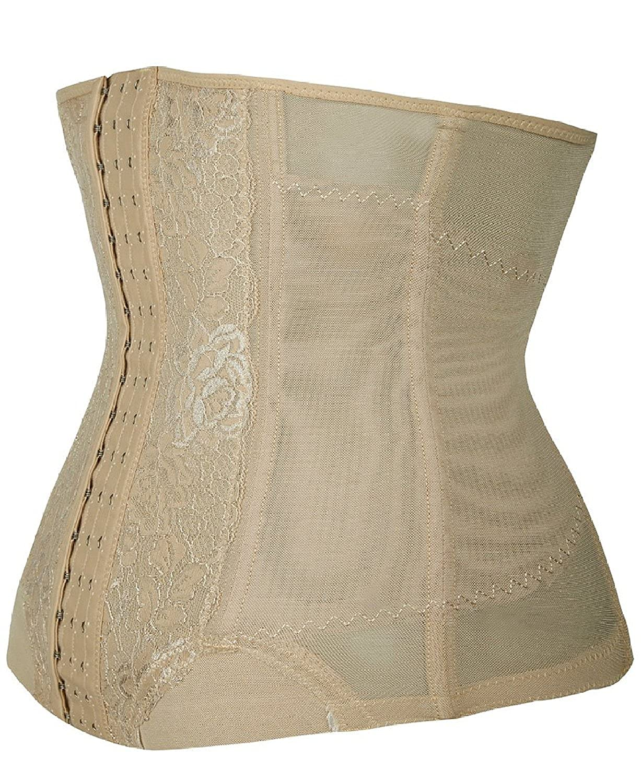 Zando Womens 3 Hook Rose Print Lace Boned Belly Waist Training Corset Cincher Apricot 3XL