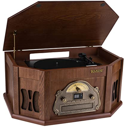 Boytone BT-25MB 8-in-1 Natural Wood Classic Turntable Stereo System with