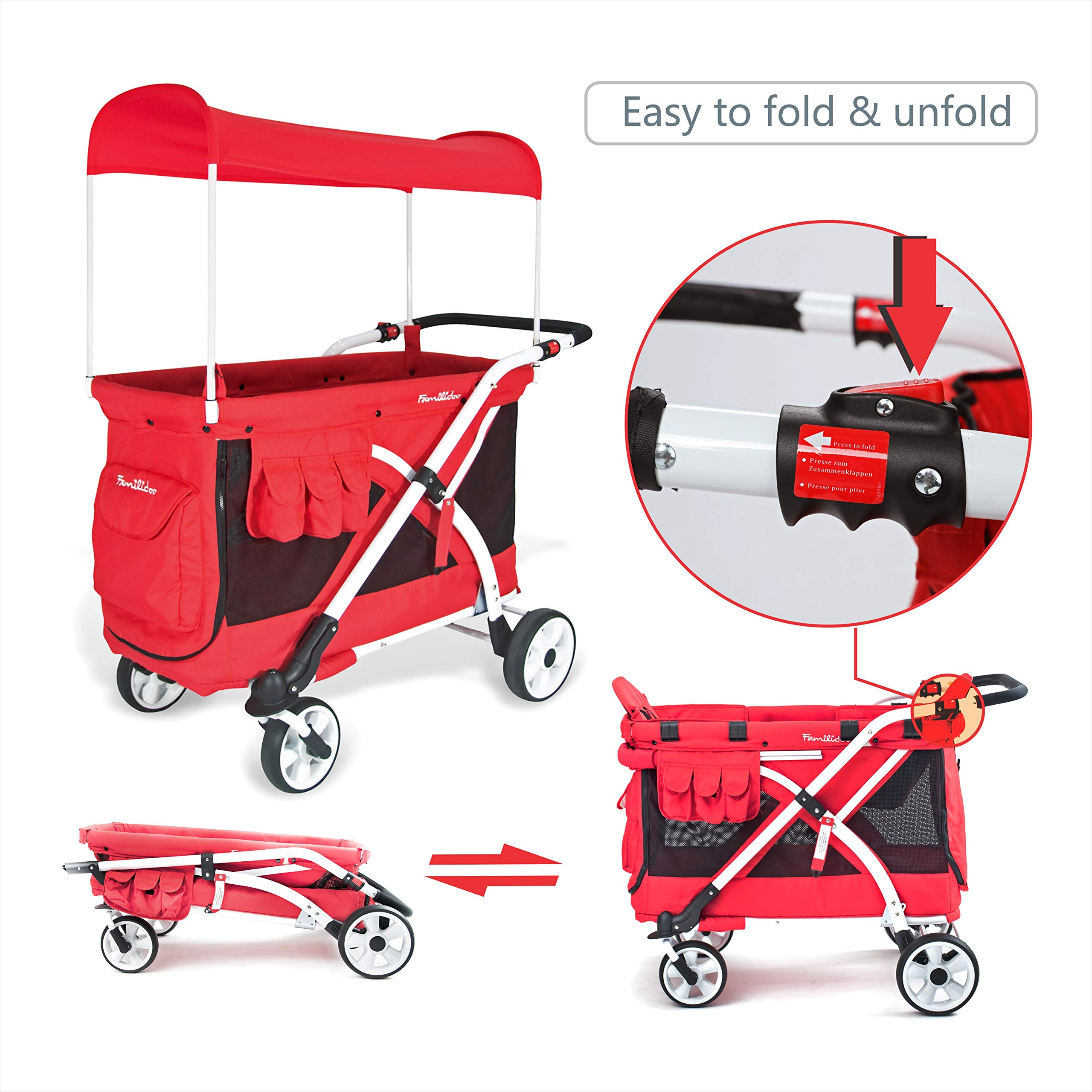 Familidoo Multi-Purpose 6 in 1 Large Twin Size Toddler Baby Folding Stroller Chariot Wagon, Red by FAMILIDOO (Image #9)