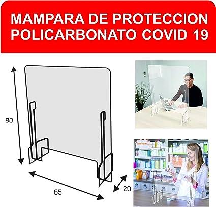Mampara de Protección 78 x 65 x 20cm - Safe Wall - Separador en policarbonato transparente - Protección transparente mostrador para farmacias, oficina, comercio y comedores: Amazon.es: Oficina y papelería