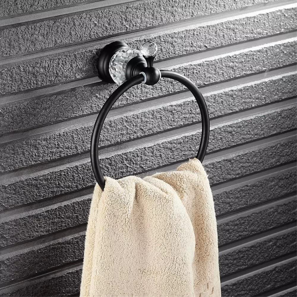 Ruddock YR6-0 Brass Oil-Rubbed Bronze Towel Ring Bathroom Antique Crystal Towel Holder Accessories,Copper Hardware