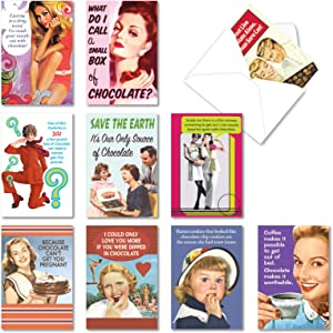 NobleWorks, 10 Blank Funny Cards Boxed - Assortment of All Occasion Notecards with Envelopes - Bitter Sweet A1239