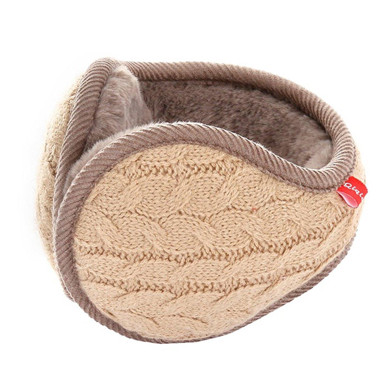 Metog Unisex Foldable Ear Warmers Polar kints Winter EarMuffs (khaki, One size) by Metog (Image #2)